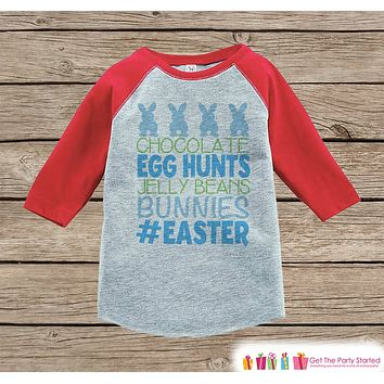 Boy's Easter Outfit - #Easter Red Raglan Shirt or Onepiece - Easter Egg Hunt - Easter Bunny - Baby, Toddler, Kids, Youth Novelty Raglan Tee