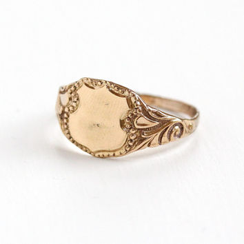 Antique Art Nouveau 10k Rose Gold Filled Blank Signet Ring - Vintage Size 10.5 Swirl Initial Monogram Repousse Jewelry