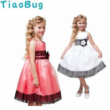 TiaoBug Little Girls Ball Gown Sleeveless Flower Girl Dresses for Wedding Communion Princess Birthday Party Lace Tutu Dress 3-7Y
