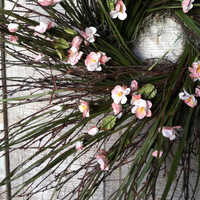 Birch twig, Grass & Pink Cherry Blossom Wreath