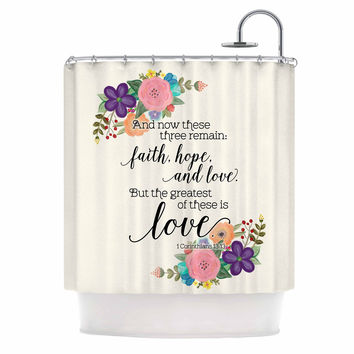 """Noonday Design """"Faith, Hope, And Love"""" Beige Multicolor Shower Curtain"""