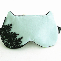 Lace Eye mask, Sleep mask, eye sleep mask, Kitty eye mask, Cat eye mask, Kitty sleep mask-Mint