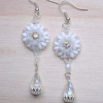 Swarovski crystal beaded earrings with super duo and Miyuki seed beads 3'', Statement earrings, Bridal earrings, Earrings for her