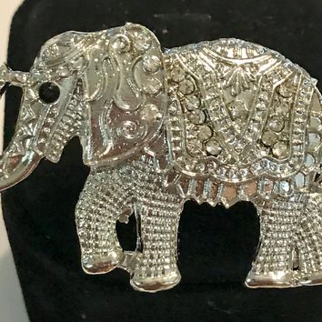 Large Elephant African Style Silver / Clear Adjustable Ring