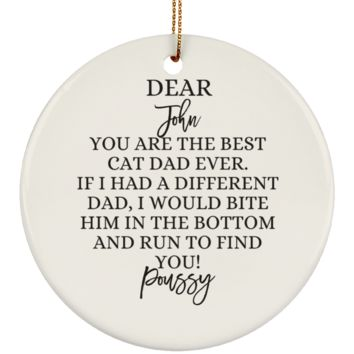 Funny Father's Day Gift For Dad From Wife, Daughter, Son, Stepdaughter, Stepson, Mom, Grandma, Mother In Law (SUBORNC Ceramic Circle Ornament)