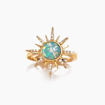 Gemstone Starbust Ring - Aqua Opal