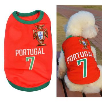 New Fashion Summer Cute Dog Pet Vest Puppy T Shirt World Cup Football doggy cloth clot