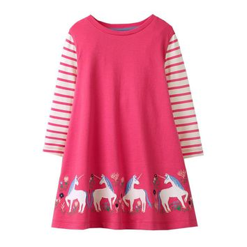 Jumping meters Baby Girl Unicorn New Dress with Animal Applique Long Sleeve Princess Dress Children Costume Kids Party Dresses