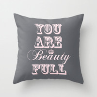 """Throw Pillow Cover """"You Are Beauty Full"""" - Gray and Pink - 16x16, 18x18, 20x20 - Nursery Living room Original Design Home Décor by Adidit"""