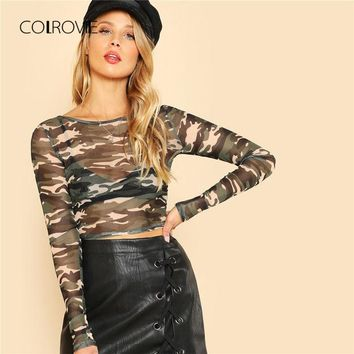 COLROVIE Camo Print Long Sleeve Crop Tee Shirt 2018 New Spring Round Neck Stretchy Woman Top Long Sleeve Party T-Shirt