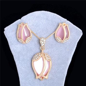 SHUANGR 2017 Unique Design Romantic Opal Crystal Pendant Gold Color Necklace Earrings Jewelry Set For Women party Wedding Set