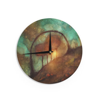 "Viviana Gonzalez ""Track 28: Sunset And Dreams II"" Green Orange Wall Clock"