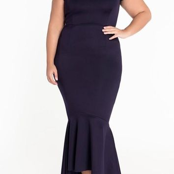 New Dark Blue Irregular Bandeau Off Shoulder Backless Mermaid Prom Evening Party Maxi Dress