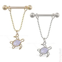 14k real gold nipple ring with dangling jeweled turtle, 14ga | Body Piercings Jewelry