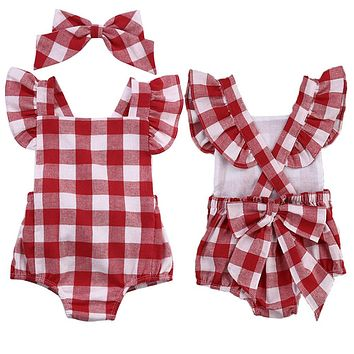 Baby Plaid Rompers & Headscarf Set