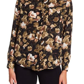 Philosophy Apparel   Floral Patterned Long Sleeve Button Down Blouse   Nordstrom Rack