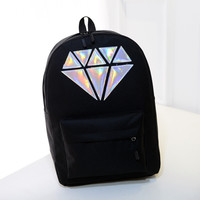Holographic silver diamond solid colors canvas backpacks school bags teen girls unisex female men laptop travel large mochilas