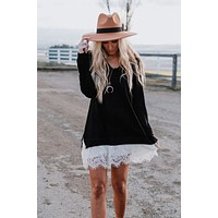 Monarch Lace Hem Sweater Dress - Black