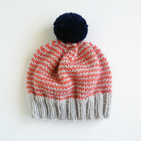 The Stripe-A-Thon Hat in Platinum, Coral, Navy - MADE TO ORDER