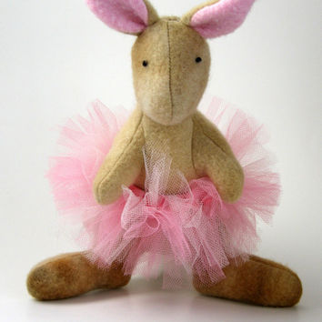 Sally the Dancing Kangaroo, stuffed animal, plush, fleece, pink