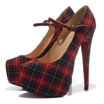 Christian Louboutin Fashion Edgy Multicolor Tartan Red Sole Heels Shoes