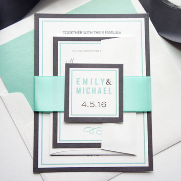 Mint Wedding Invitation - SAMPLE SET
