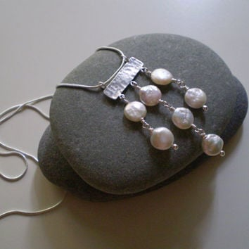White Coin Pearl Pendant & Sterling Silver Snake Chain Necklace, OOAK, White Pearl and SS Necklace, Bridal, Weddings, Gift Items
