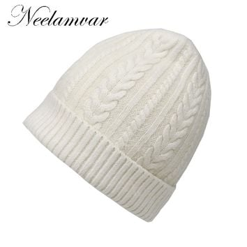 Neelamvar Brand Angora Rabbit Hair Beanie Women Wool Knitted Hats Girls Skullies winter Warm Winter Hat Snow Fashion beanies