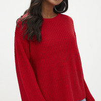 Red Exaggerated Sleeve Fisherman Jumper