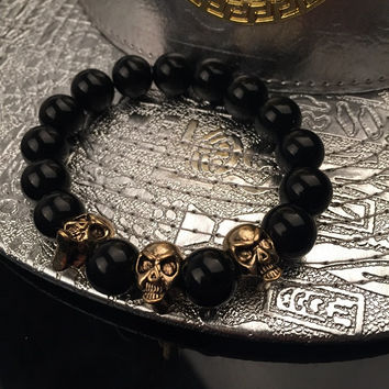 Hot Sale Shiny Great Deal Awesome Stylish Gift New Arrival Fashion Skull Hip-hop Couple Accessory Bracelet [6542739971]