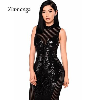 Ziamonga Summer Bodycon Sexy Pencil Dress Women Backless Sequined Office Night Party Slim Robe Midi Dress Elegant Sheath Dresses