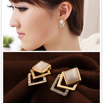 Fashion Gold Plated Exquisite Solid Pierced Rhinestone Opal Stud Earrings Three Layer Geometric Square Earrings