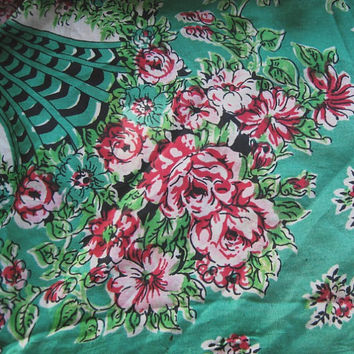 Shades of Jade/Emerald Green Silk Scarf - Flawed; for Project - 1940s-1950s Green-White-Red Rose Scarf - Upcycle; Shabby Theater Set
