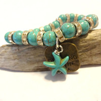 Earthy Turquoise Blue Beaded Stretch Bracelet, Starfish Stacking Bracelet, Brass and Turquoise Dreaming of the Sea Starfish Charm Bracelet