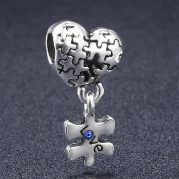 Antique Heart Puzzle Dangling Charm Beads Fit 3mm Snake Chain Pandora Bracelet