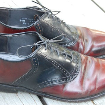 Vintage 80s Mens Two Tone Oxblood & Black Preppy Spectator Saddle Oxfords Shoes Brogues Mens Size 8.5 Medium Ladies 10.5 Medium