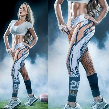 2017 New GYM American football theme 3D printed women Running Tights workout sportswear Leggings Yoga fitness pants