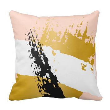 trendy,gold,coral,black,abstract,painting,art,chic throw pillow