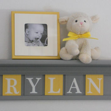 "Yellow and Gray Nursery Wall Art - Yellow Baby Boy Nursery Decor - RYLAN - Personalized 24"" Grey Wood Shelf 5 Wooden Wall Letters"