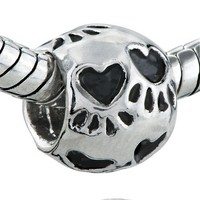 Pugster Heart Dog Paw Print Bead Fits Pandora Charms