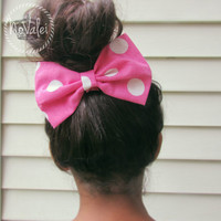 Hair Bow - Pink, White, Polka Dots Hair Bow