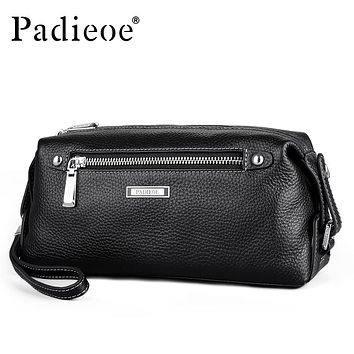 Business Men Purse Genuine Leather Man Handy Bag High Capacity Long Wallet for Mens Fashion Clutches