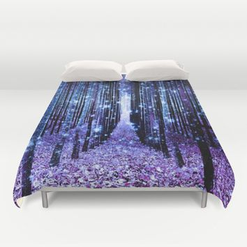 Magical Forest Turquoise Purple Duvet Cover by 2sweet4words Designs