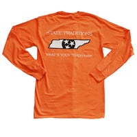 TN Knoxville Traditional Long Sleeve T-Shirt in Orange by State Traditions