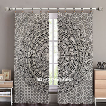 Black And White Animal Maze Mandala Curtain Panel Pair on RoyalFurnish.com