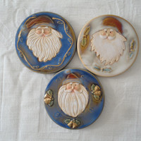 Porcelain Round Santa Claus Hand Painted Hand Carved Coasters