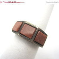 SALE Vintage Goldstone Sterling Silver Ring - Costume Jewelry
