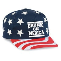 Drunk On Merica USA July 4th Snapback Hats