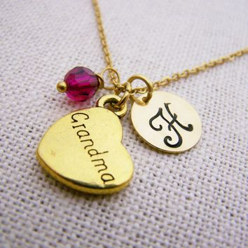 Grandma Necklace - Gold Initial Necklace - Birthstone Necklace - Gold Initial Necklace - Personalized Necklace - Grandmother Necklace
