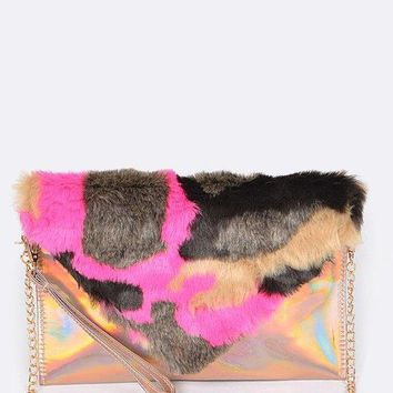 Multi-color Faux Fur Iridescent Holographic Clutch